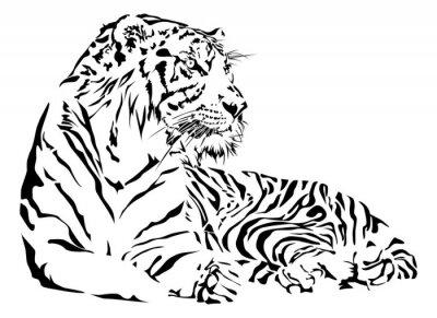 Vinilo Tigre blanco y negro