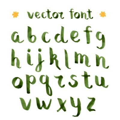Vinilo Tinta hecha a mano alfabeto verde.