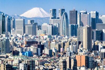 Vinilo Tokio en invierno con Fujiyama en el fondo