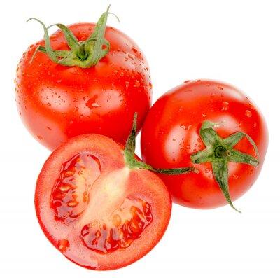 Vinilo Tomates con gotas de agua aislados en el fondo blanco