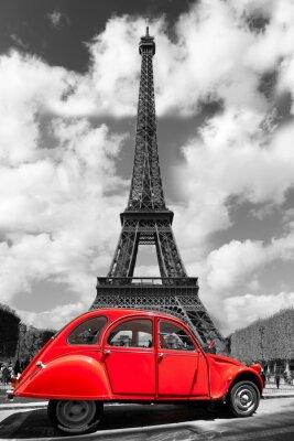 Vinilo Torre Eiffel con el coche rojo de edad en París, Francia