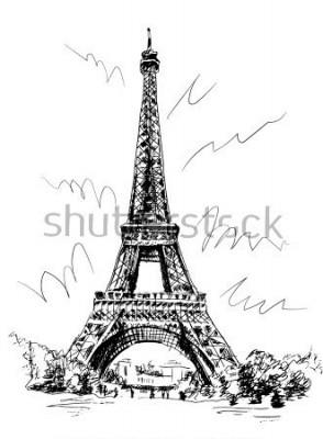 Vinilo Torre Eiffel dibujada con pluma y trazado, trazado de imagen, dibujo a mano, París, Francia.