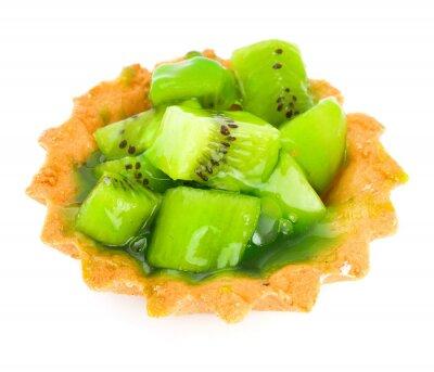 Vinilo Torta con el kiwi fruta aislado en blanco