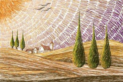 Vinilo Toscana paisaje - concepto de pintura digital