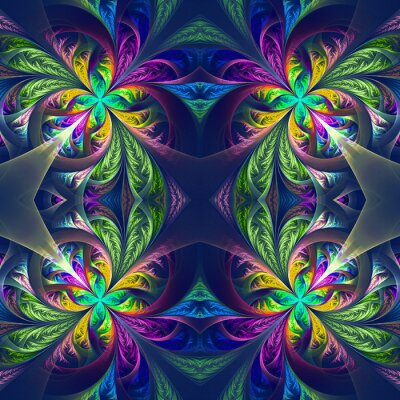 Vinilo Traceral fractal simétrico multicolor. Colección - patt escarchado