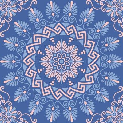 Vinilo Tradicional sin costuras vintage rosa, blanco y azul ronda ornamento floral griego, Meandro