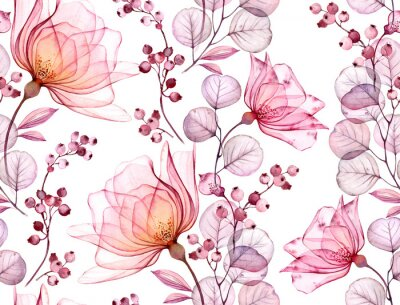 Vinilo Transparent rose watercolor seamless pattern. Hand drawn floral illustration with pink berries for wedding design, surface, textile, wallpaper
