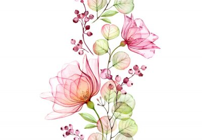 Vinilo Transparent watercolor rose. Seamless vertical border. Isolated hand drawn arrangement with big flowers, eucalyptus and berries for wedding design, stationery card print
