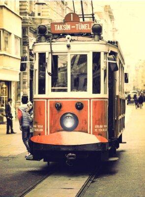 Vinilo Tranvía antiguo en la calle Istiklal, Estambul.