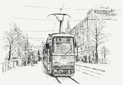 Vinilo tranvía en una gran ciudad
