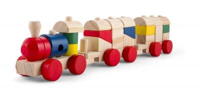 Vinilo Tren de juguete de madera con bloques de colores aislados sobre blanco