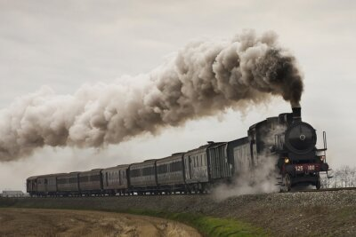 Vinilo Tren de vapor negro vintage