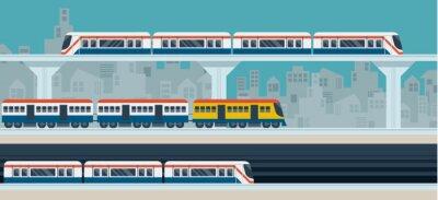 Vinilo Tren, Sky Train, Subway, Ilustración Iconos de Objetos