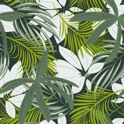 Vinilo Trending abstract seamless pattern with colorful tropical leaves and plants on green background. Vector design. Jungle print. Floral background. Printing and textiles. Exotic tropics. Fresh design.