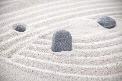 Vinilo Tres piedras en la arena, concepto zen