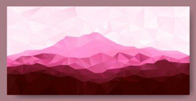 Vinilo Triángulo de poli polígono de bajo fondo geométrico con la montaña de color rosa