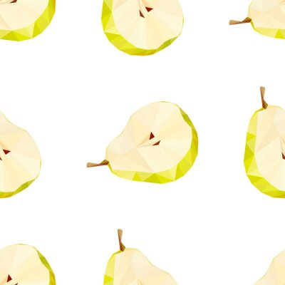 Vinilo Triangulo poligonal pera ilustración vectorial. Fruta jugosa.