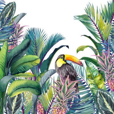 Vinilo Tropical card with Toucan, palm trees, pineapples, banana and calathea leaves. Watercolor illustration on white background.