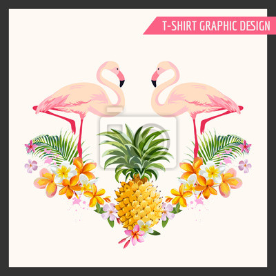 Vinilo Tropical Flowers and Flamingo Graphic Design - for t-shirt, fashion