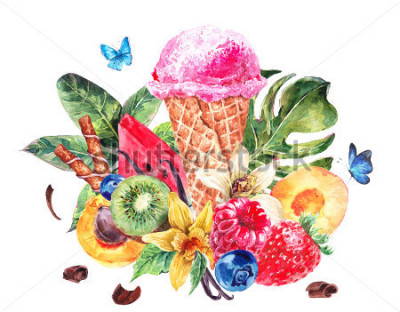 Vinilo Tropical hand painting summer watercolor natural eco food background with fruits, soft Italian fruit ice cream, summer nature exotic sale card