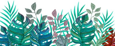 Vinilo Tropical leaves. Watercolor drawing. Green color.