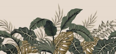 Vinilo Tropical palm leaves, jungle leaves seamless vector floral pattern background.