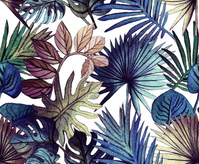 Vinilo Tropical pattern painted with shiny paints.  rose gold tropical leafs