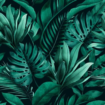 Vinilo Tropical seamless pattern with exotic monstera, banana and palm leaves on dark background.