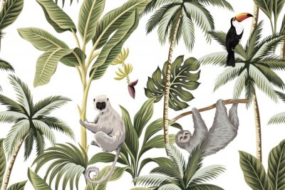 Vinilo Tropical vintage animals, toucan, palm trees, banana tree floral seamless pattern white background. Exotic jungle wallpaper.