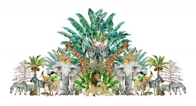 Vinilo Tropical vintage botanical island. Watercolor border with safari animals and palm trees. Exotic jungle wallpaper.