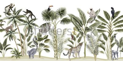 Vinilo Tropical vintage botanical landscape, palm tree, banana tree, plant, sloth, monkey, leopard, lemur, parrot, toucan floral seamless pattern white background. Exotic green jungle animal wallpaper.
