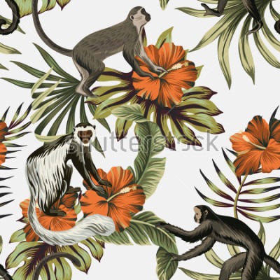 Vinilo Tropical vintage monkey, red hibiscus flower, palm leaves floral seamless pattern white background. Exotic jungle wallpaper.