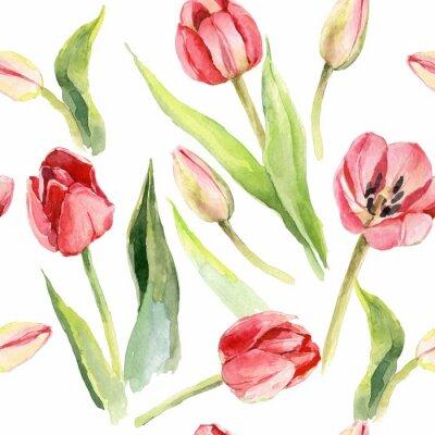 Vinilo tulipanes flor acuarela patrón ilustración textil imprimir