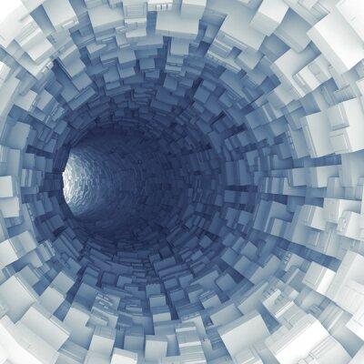 Vinilo Túnel azul con segmentos tecnológicos extrudidos