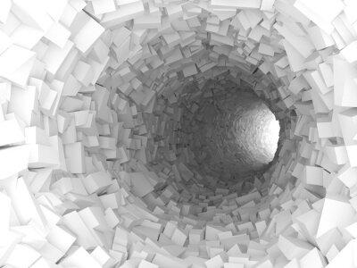 Vinilo Túnel con paredes hechas de bloques caóticos 3d