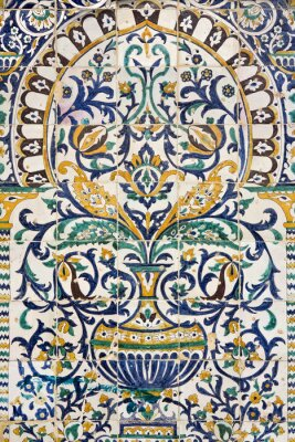 Vinilo Túnez. Kairouan - el Zaouia de Sidi Saheb. Fragmento de panel cerámico con motivos florales y arquitectónicos
