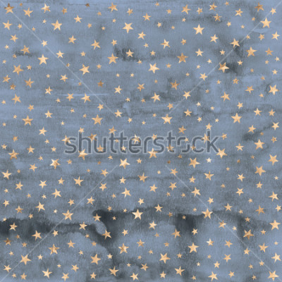 Vinilo Twinkle star pattern in rose gold metallic foil overlaid on denim blue hand painted watercolor texture.