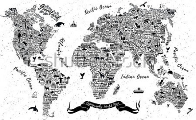 Vinilo Typography World Map. Travel  Poster with cities and sightseeing attractions. Inspirational Vector Illustration.