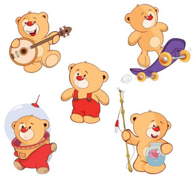 Vinilo Un conjunto de osos de dibujos animados