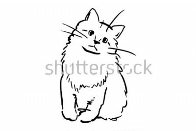 Vinilo Un gatito sentado. Bosquejo blanco y negro del vector. Dibujo simple en el fondo blanco.