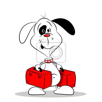 Un perro de dibujos animados con dos maletas en el fondo blanco ...
