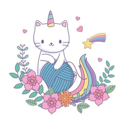 Vinilo Unicorn cat cartoon vector design