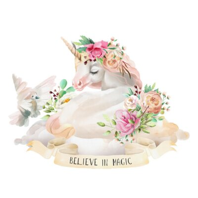 Vinilo Unicornio hermoso, lindo, soñando de la acuarela en la nube con las flores, el ramo floral, la paloma y la cinta con cita aislada en blanco