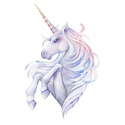 Vinilo Unicornio lindo de la acuarela