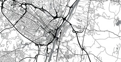 Vinilo Urban vector city map of Albany, USA. New York state capital