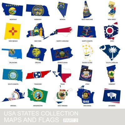 Vinilo USA estatales colección, mapas y banderas