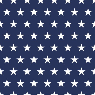 Vinilo USA flag seamless pattern. White stars on a blue background. Memorial day