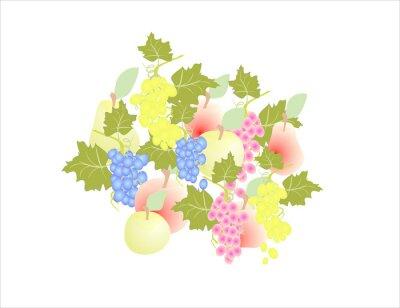 Vinilo Uvas, pera, manzana - fruta, otoño,