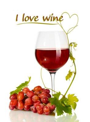 Vinilo Uvas vaso de vino y maduras con I love texto aislado vino