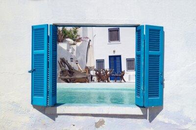 Vinilo Vacaciones románticas en la isla de Santorini, Grecia